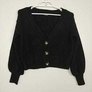Top Shop Button-Down Cardigan V-Neck Black 2 #3302